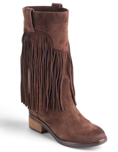 lucky brand caleb fringe suede boots in brown brown