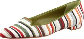 Manolo Blahnik Sharif Striped Fabric Smoking Slipper Greenred - Lyst