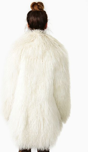 Nasty Gal Iced Mongolian Lamb Fur Coat in White (ice)   Lyst