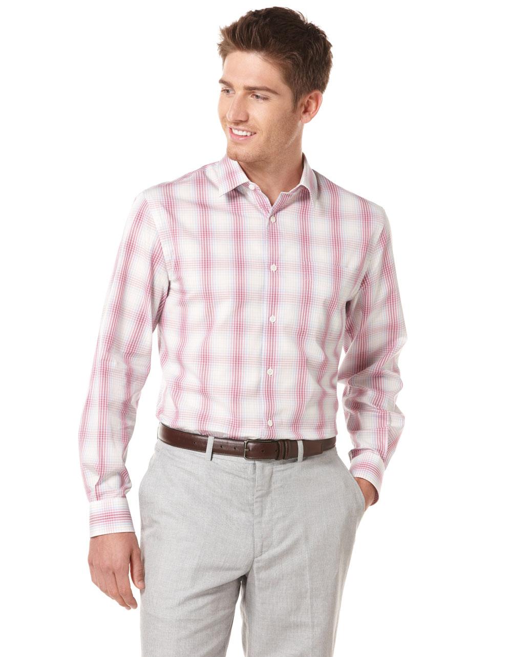 Perry Ellis Longsleeve Ombre Plaid Woven Buttondown Shirt