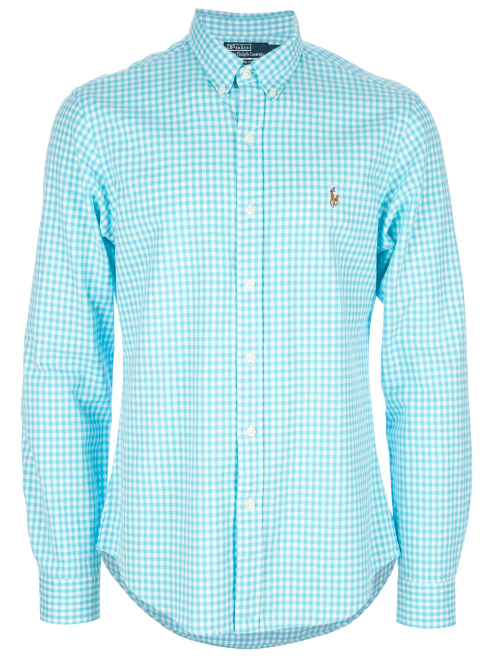 Polo ralph lauren Button Down Checked Shirt in Blue for Men | Lyst
