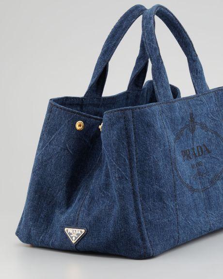 104fcba49e07 prada denim small gardeners tote bag in blue denim lyst Marc Jacobs Satchel