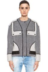 Proenza Schouler Basket Weave Collarless Jacket in Black Ecru - Lyst