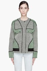 Proenza Schouler Green Basket Weave Tweed Collarless Jacket - Lyst