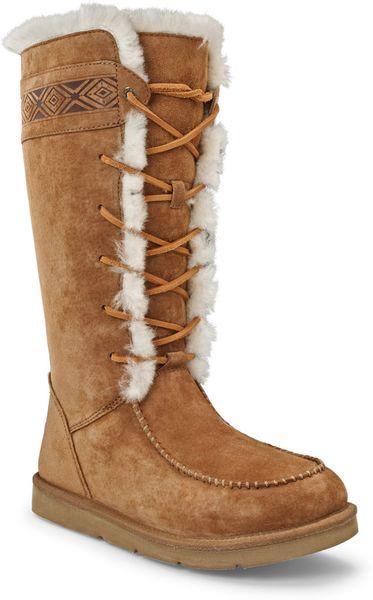Ugg Tularosa Suede Sheepskin Boots In Brown Chestnut
