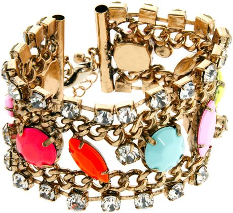 Asos Colour Stone Chain Bracelet in Gold (multi) - Lyst