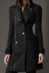 Burberry Leather Bound Wool Coat - Lyst
