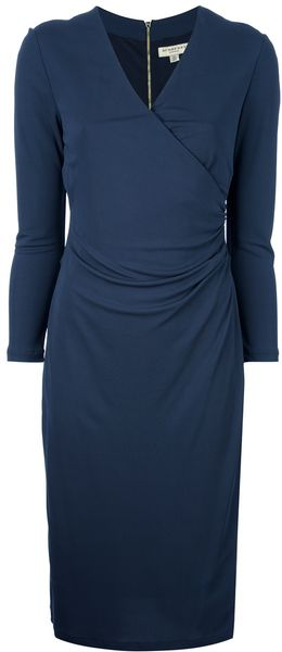 Burberry Vneck Dress in Blue (navy) - Lyst