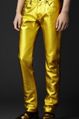 Burberry Prorsum Metallic Leather Jeans - Lyst