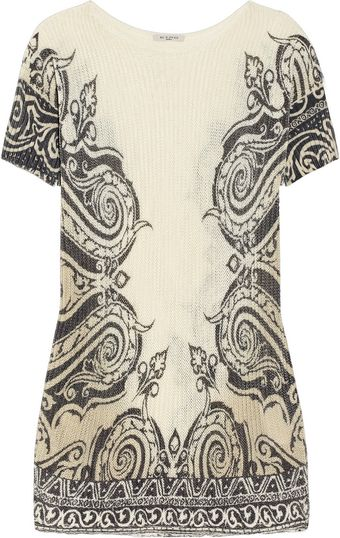 Etro Printed Ribbed Cotton Blend Sweater - Lyst