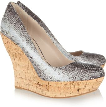 Miu Miu Snake Effect Leather and Cork Wedges - Lyst