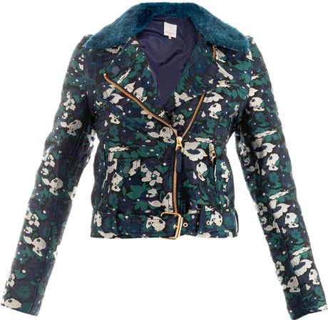 Opening Ceremony Floral Jacquard Jacket in Blue for Men (NAVY MULTI)