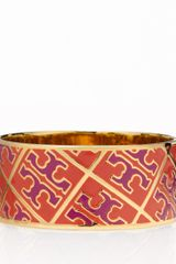 Tory Burch Enamel T Pattern Bangle - Lyst