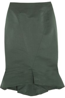 Zac Posen Folded-Hem Satin-Twill Pencil Skirt - Lyst