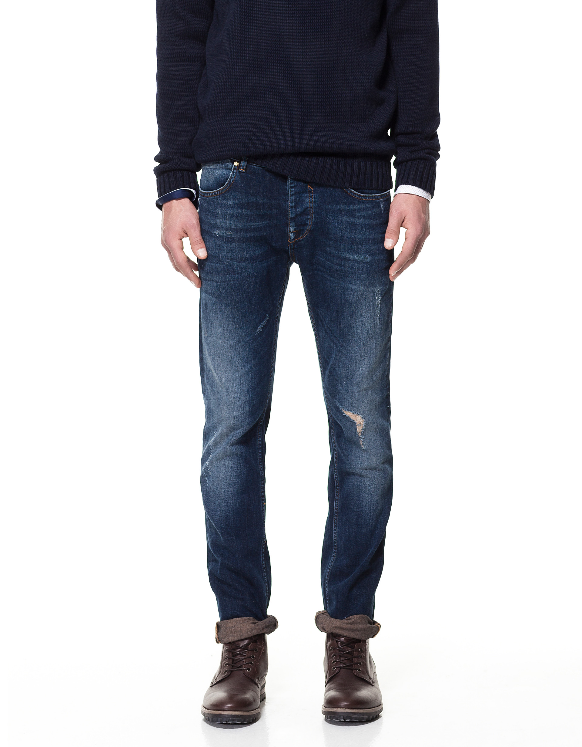 Zara Jeans with Seams On The Yoke in Blue for Men (dark blue)   Lyst