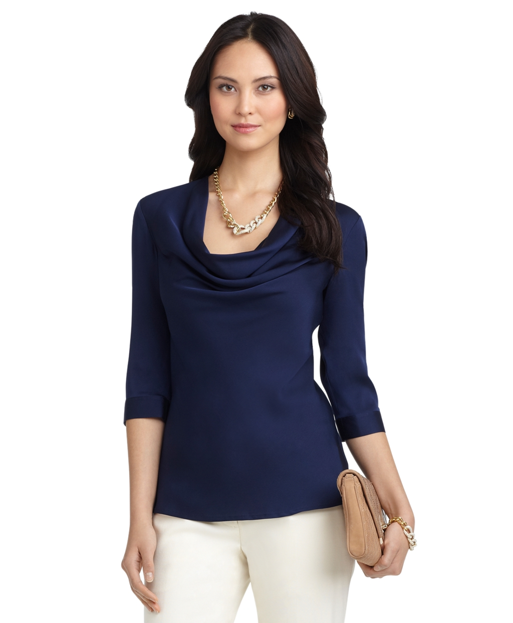 Cowl Neckline: Brooks Brothers Stretch Silk Cowl Neck Blouse In Blue