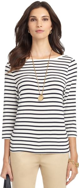 Brooks Brothers Threequarter Sleeve Boatneck Knit Top - Lyst