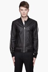 Diesel Black Gold Black Leather Racing Stripe Linsert Jacket - Lyst