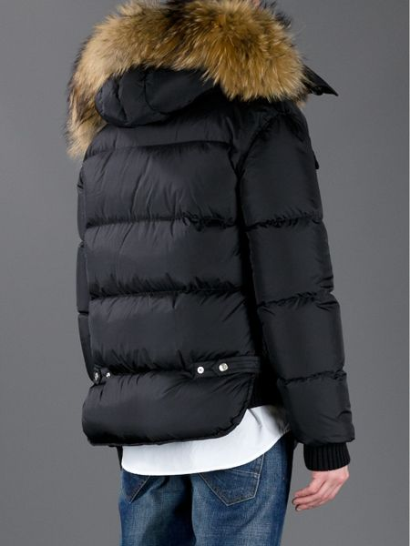 dsquared u00b2 padded parka jacket with a fur hood in black for men