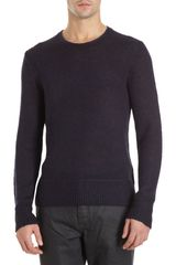 John Varvatos Open Knit Crewneck Sweater - Lyst