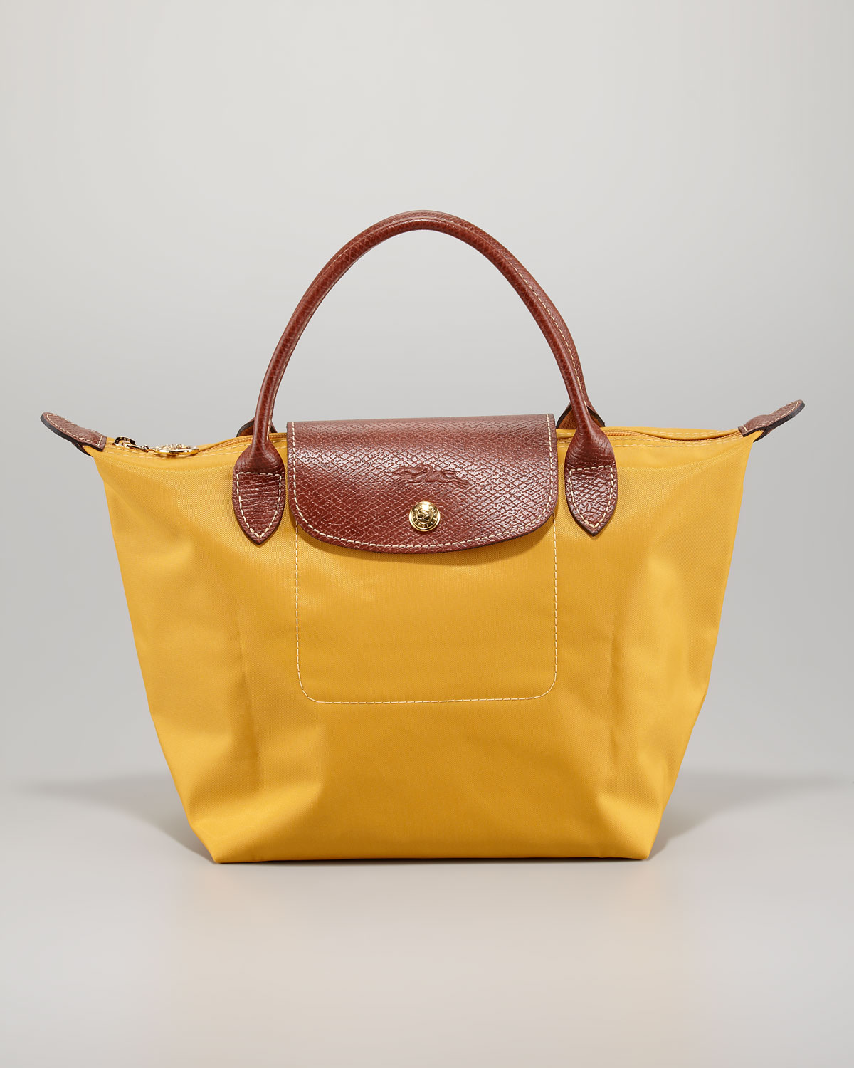 adde1cc71ec1 Lyst - Longchamp Le Pliage Cuir Small Leather Tote Bag in Yellow