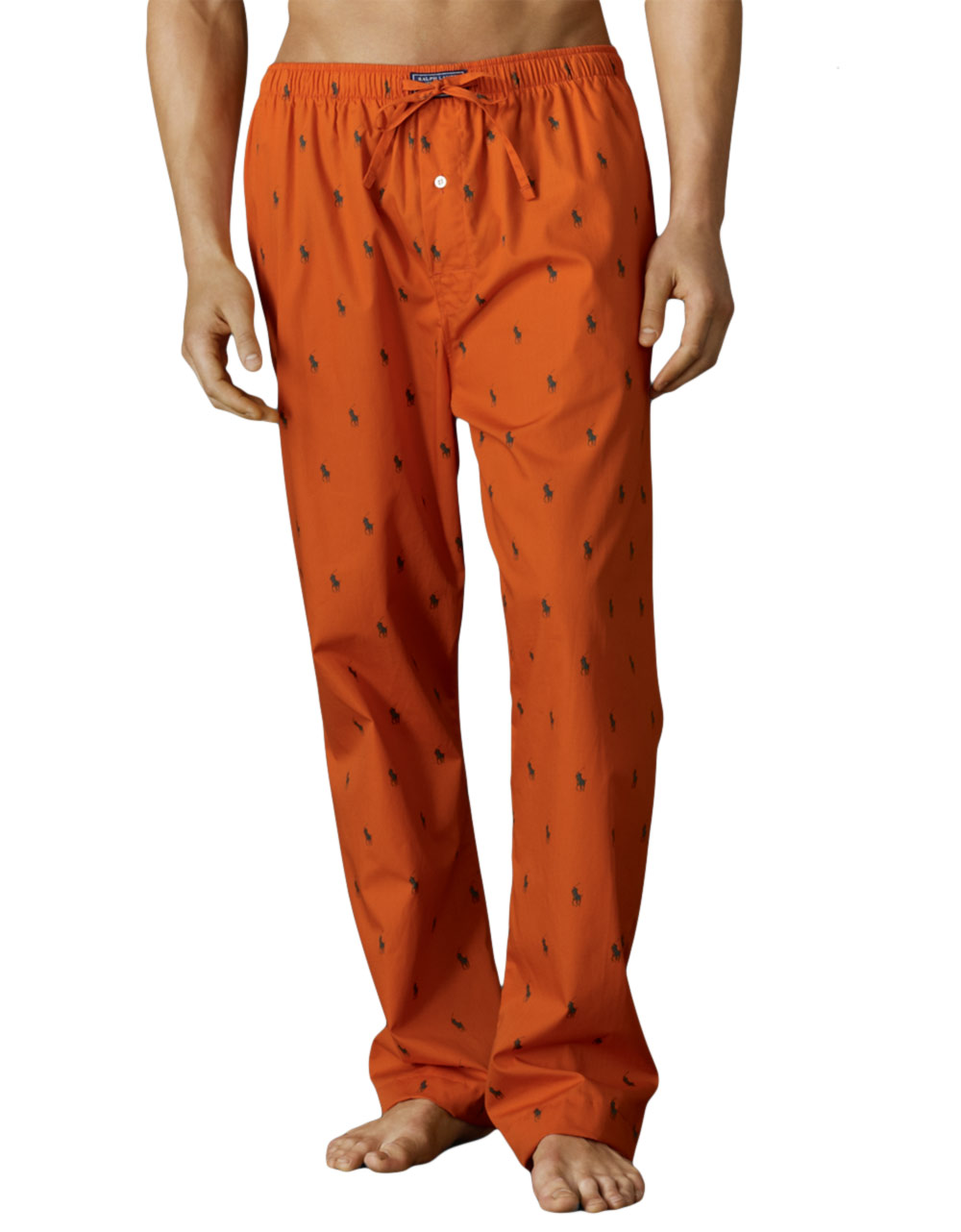 polo ralph lauren allover pony woven cotton pajama pants in orange