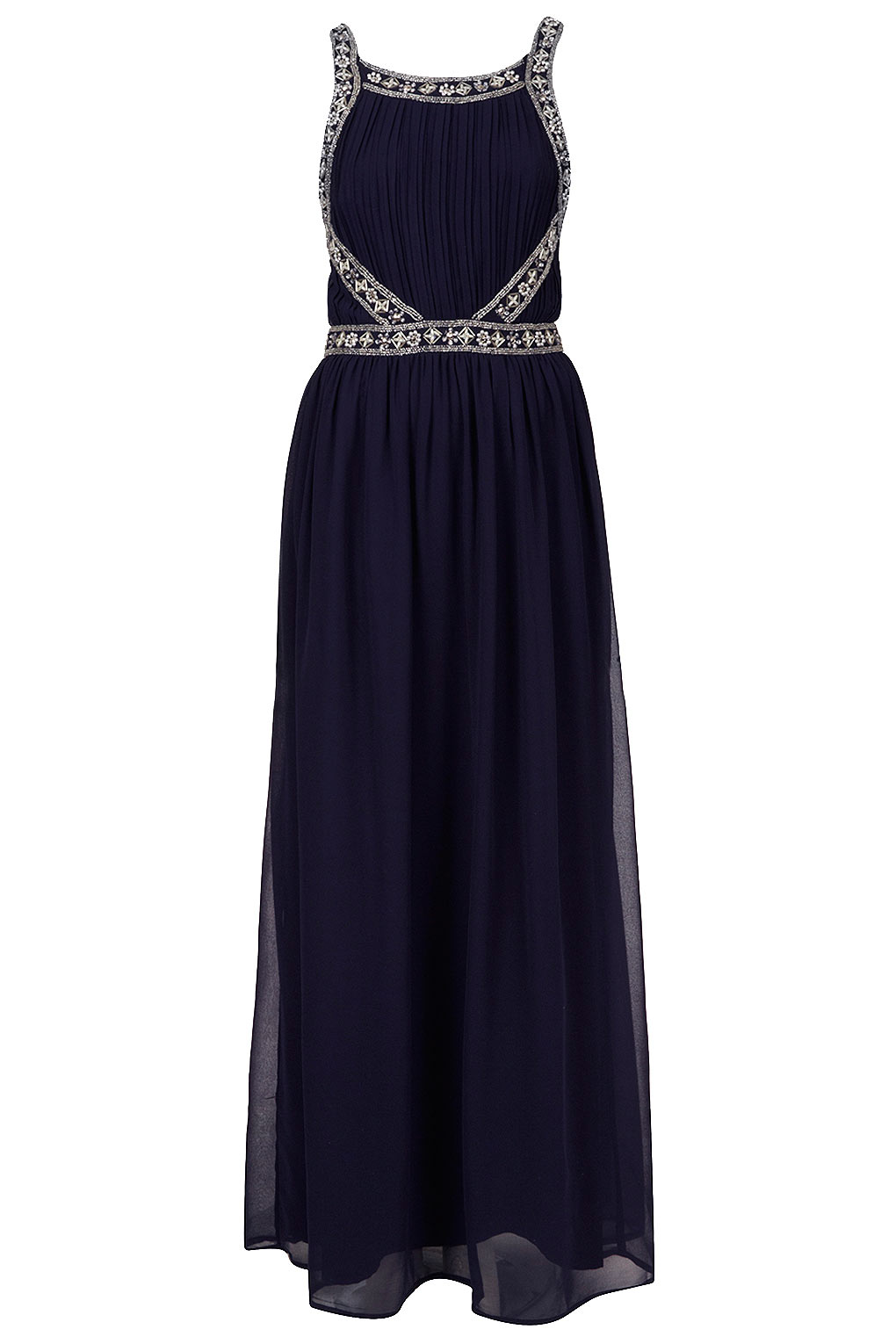 Navy Beaded Dress River Island