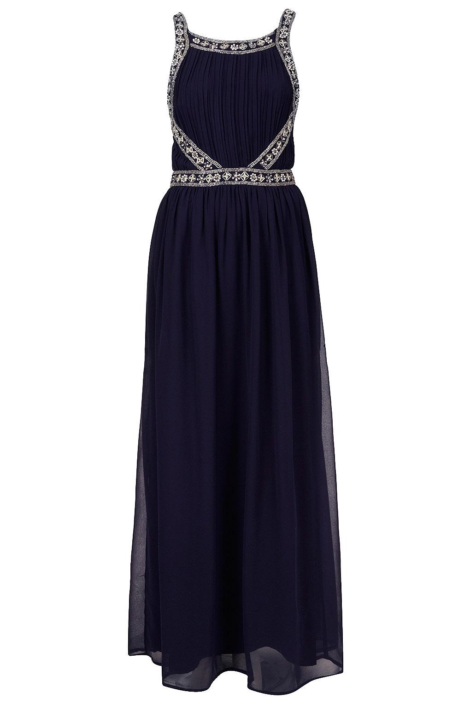 Lyst - Topshop Embellished Panel Maxi Dress in Blue