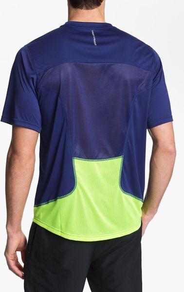 Under armour run heatgear flyweight t shirt in blue for for Hi viz running shirt