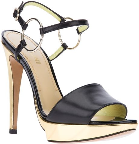 Pollini Metallic Heeled Sandal in Black