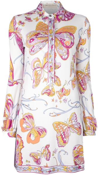Pucci Butterfly Print Tunic Dress - Lyst