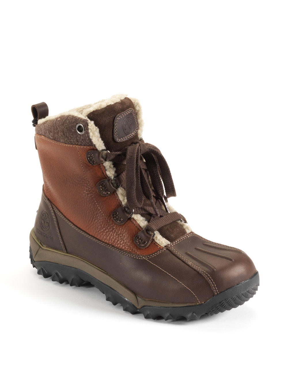 timberland woodbury leather hiking boots in brown for