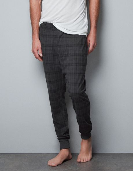 Zara Checked Harem Pants In Gray For Men Marengo Lyst
