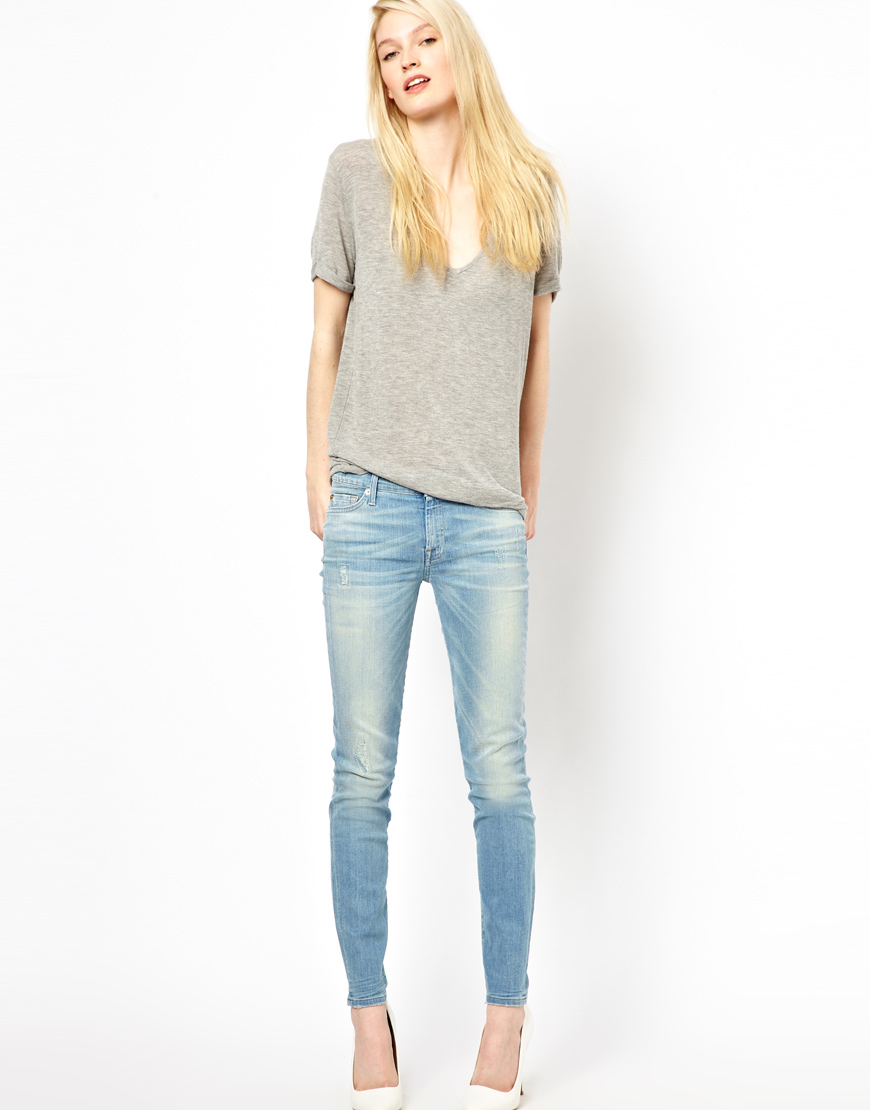 7 for all mankind Mid Rise Ripped The Skinny Jeans in Blue | Lyst