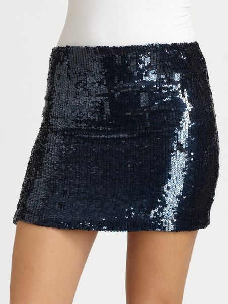 alexe sequined mini skirt in blue navy lyst