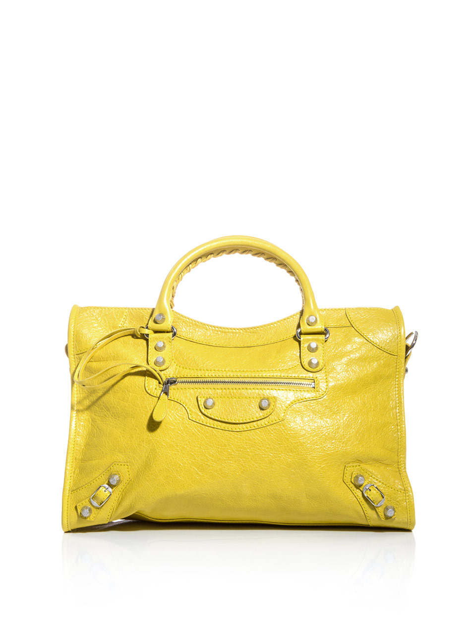 balenciaga giant city bag in yellow lyst. Black Bedroom Furniture Sets. Home Design Ideas