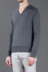 Burberry Fitted Vneck Sweater in Gray for Men (grey) - Lyst
