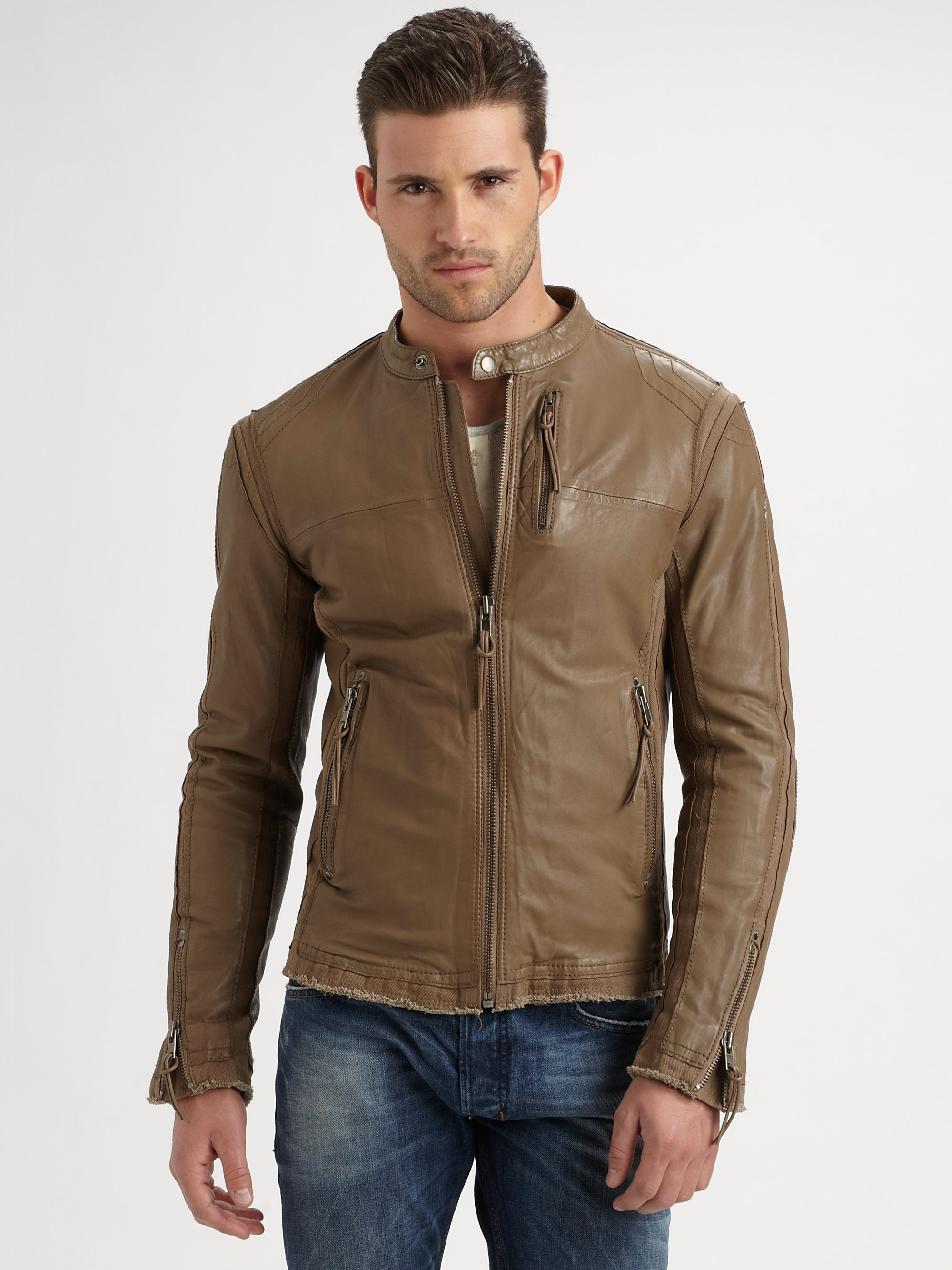 Diesel Lambskin Leather Jacket in Brown for Men | Lyst