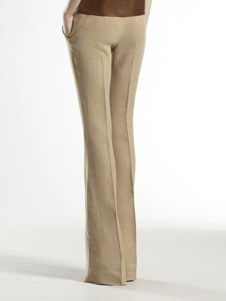 Gucci Linen Skinny Flare Pant In Beige Hazel Lyst