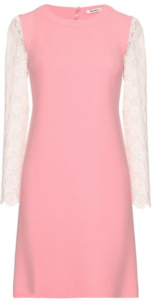Miu Miu Dress with Macramé Sleeves - Lyst