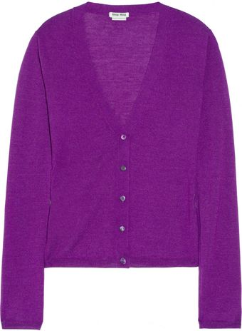 Miu Miu Cashmere and Silk Blend Cardigan - Lyst