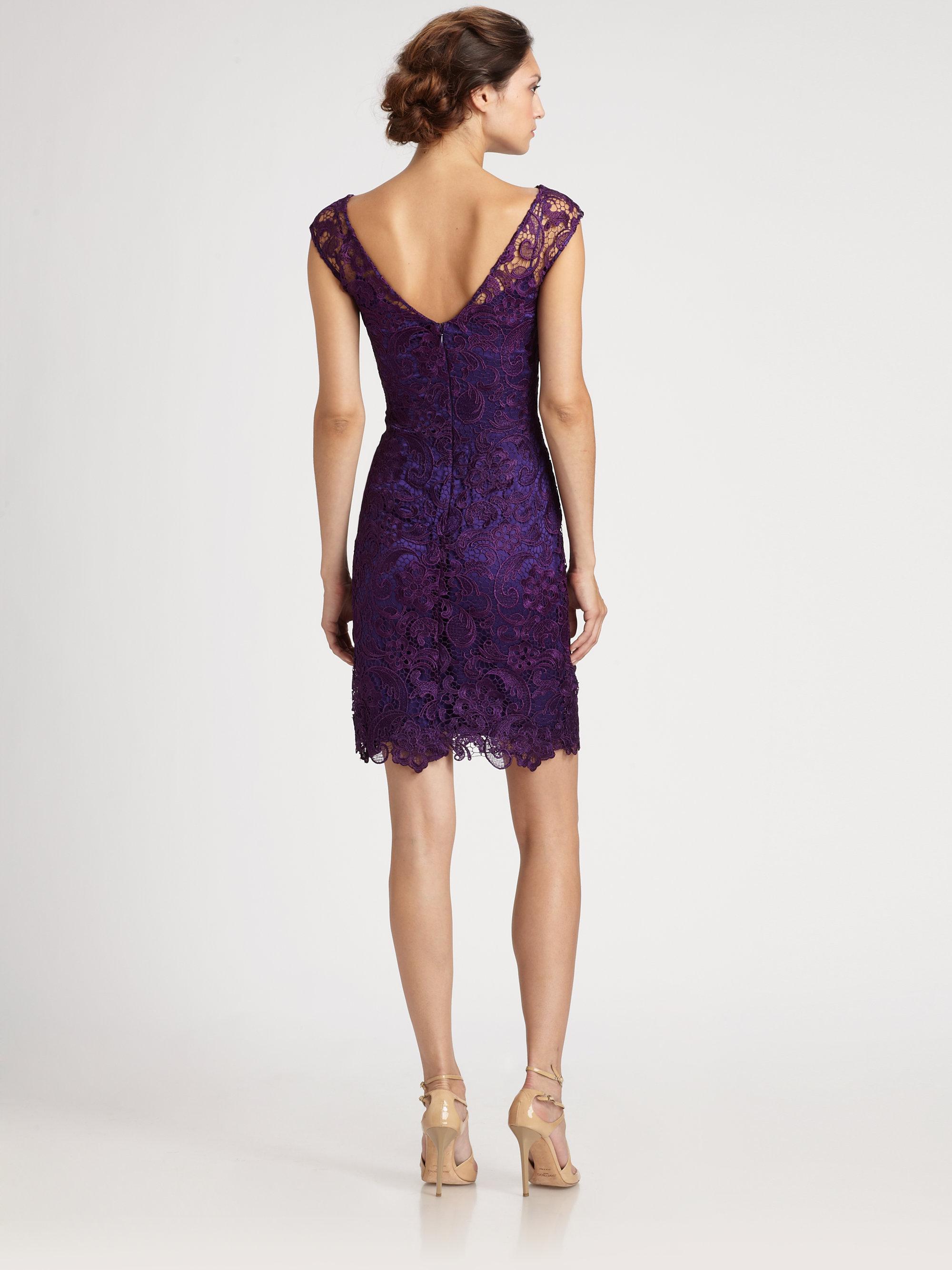 Ml Monique Lhuillier Lace Dress In Purple Plum Lyst