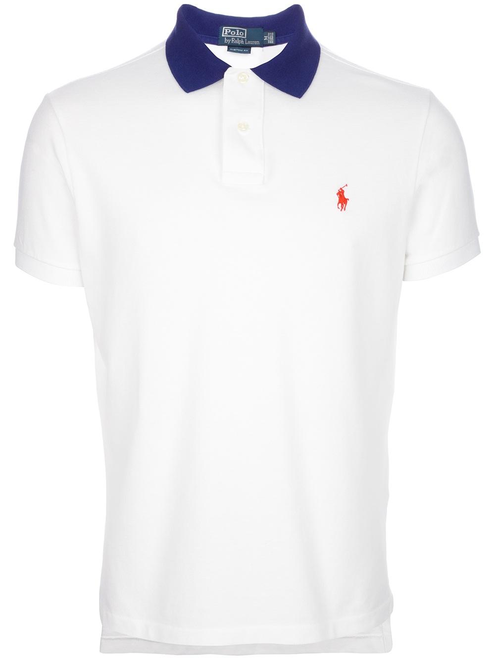 Lyst Polo Ralph Lauren Contrast Collar Polo Shirt In White For Men
