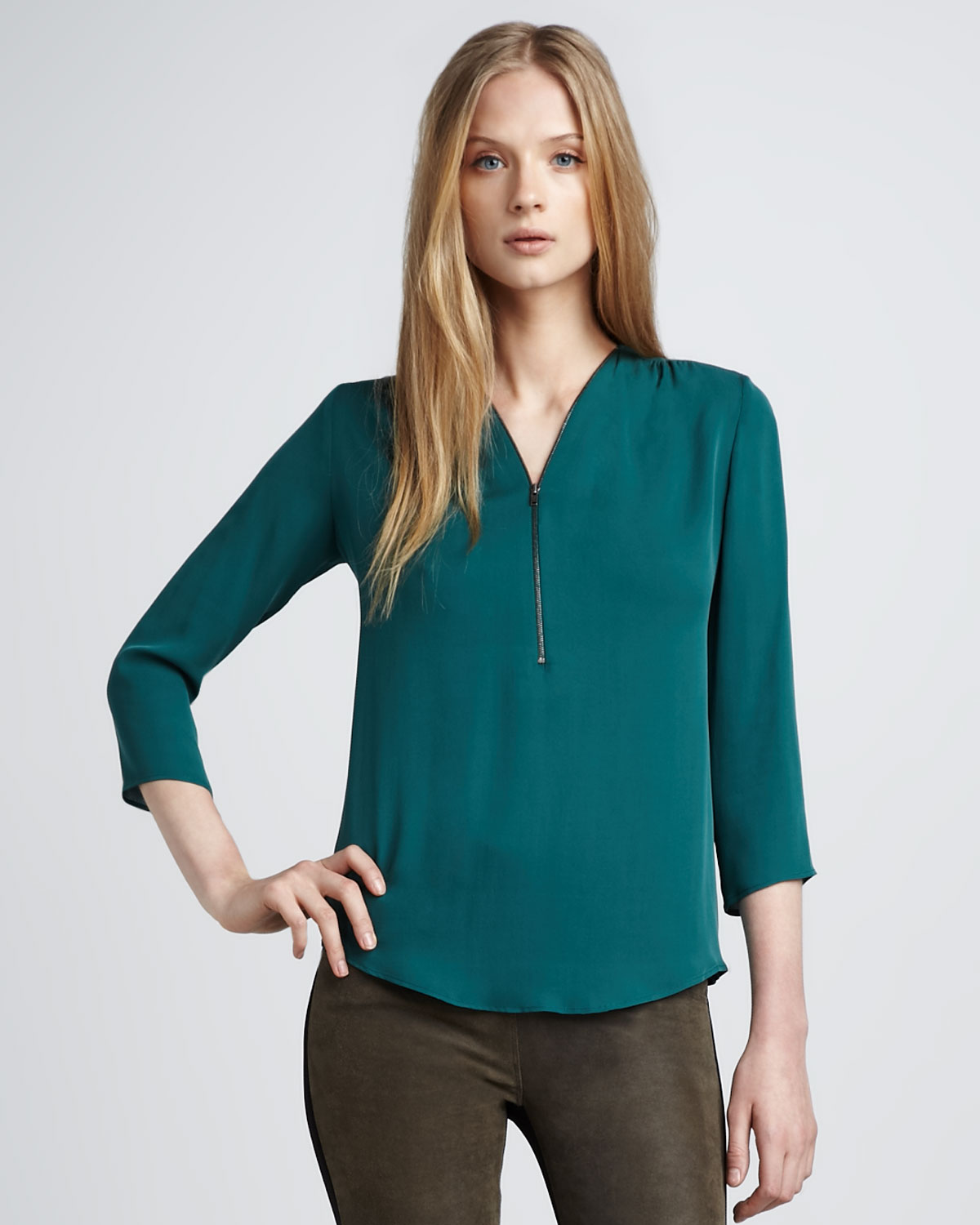 Theory Silk Zip Blouse Emerald in Green | Lyst