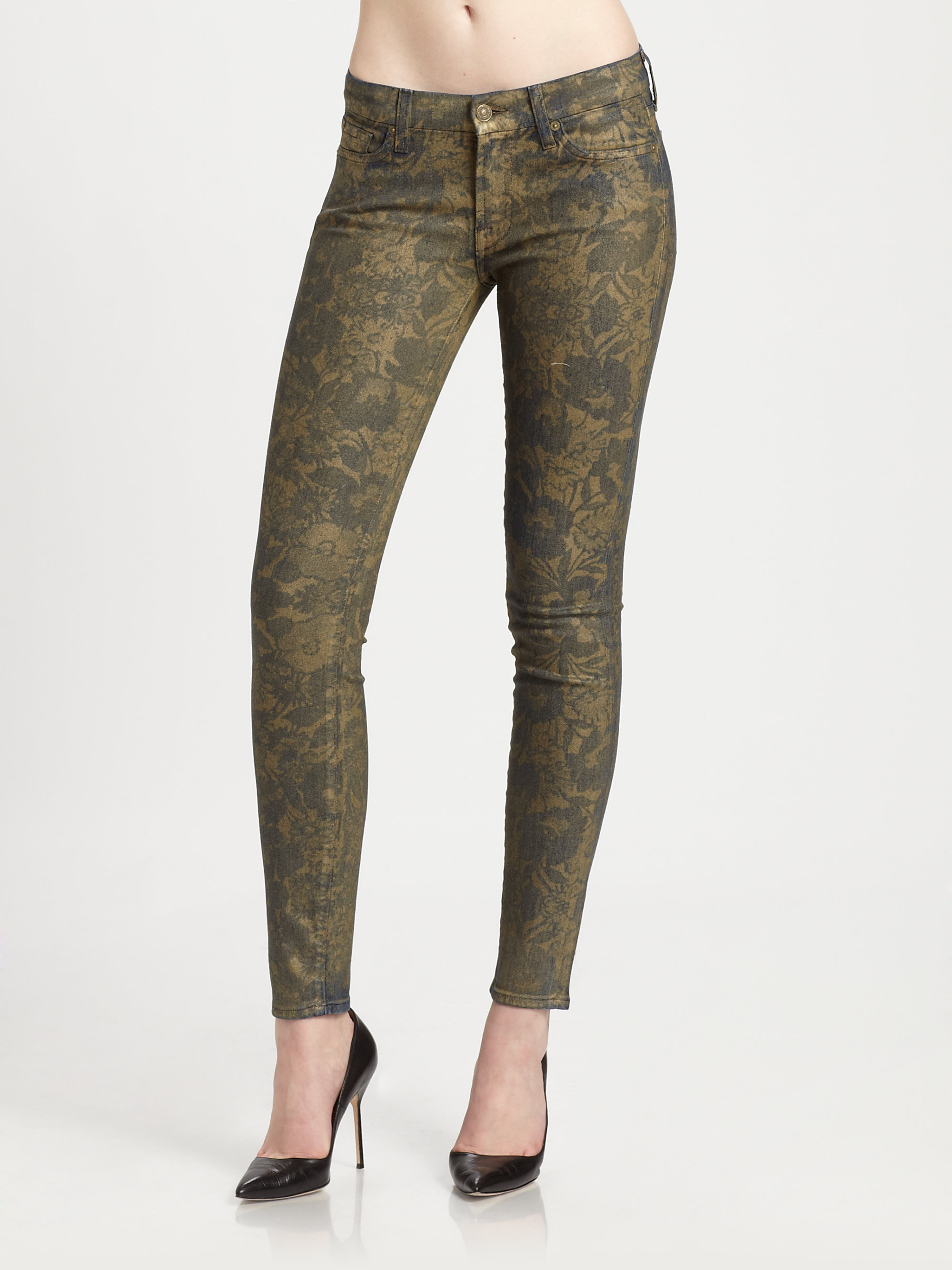 for all mankind floral print skinny jeans in metallic lyst. Black Bedroom Furniture Sets. Home Design Ideas