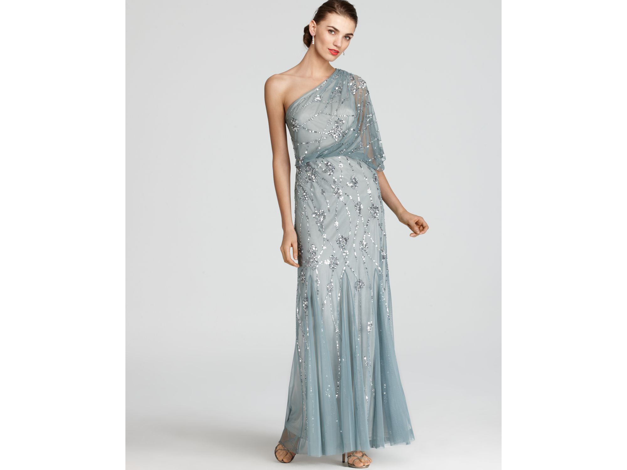 Lyst - Adrianna Papell Gown One Shoulder Sequin in Gray