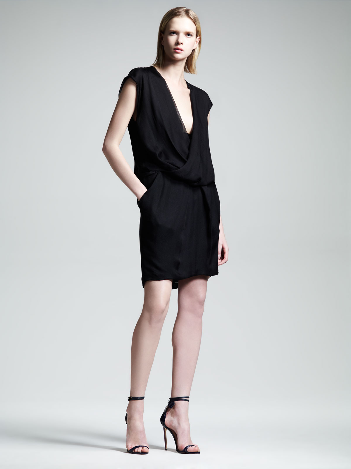Lyst - Alexander Wang Womens Draped Pocket Dress in Black