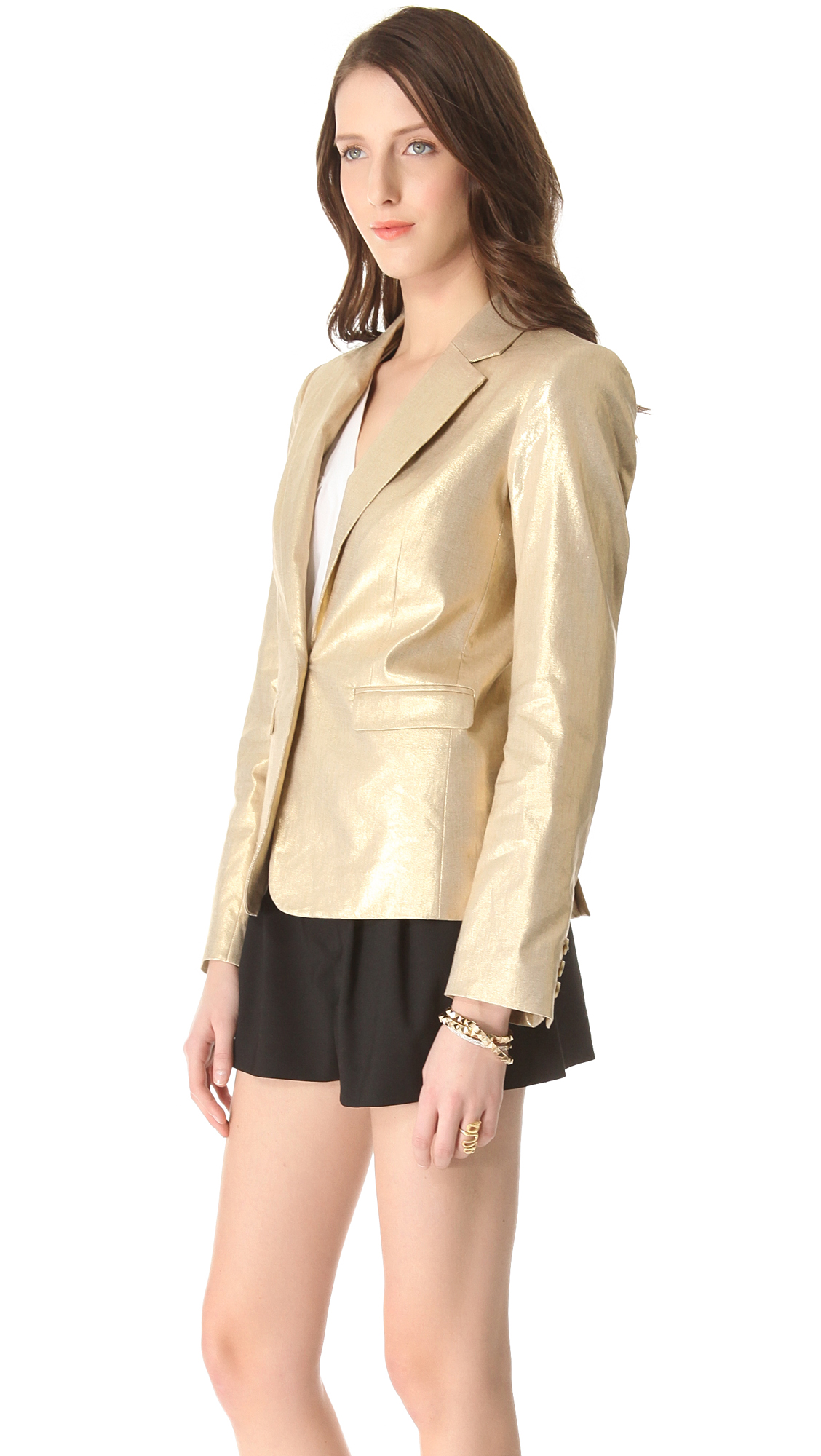 Alice Olivia Elyse Metallic Blazer In Metallic Lyst