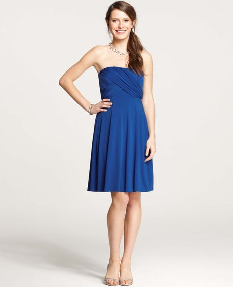 Ann taylor jersey shirred strapless bridesmaid dress in for Anne taylor wedding dress