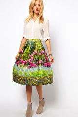 ASOS Collection Midi Skirt in Spring Woodland Print - Lyst
